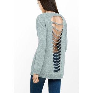 Express marble slash back sweater